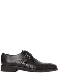 John Richmond Perforated Leather Monk Strap Shoes Black