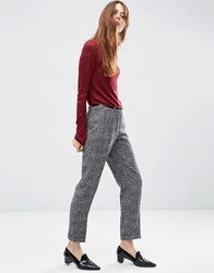 Asos Cigarette Trouser In Texture With Belt Salt And Pepper Grey