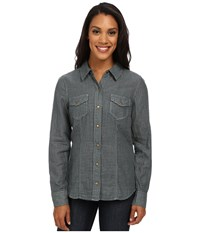 Carve Designs Inverness Shirt Evergreen Check Women's Long Sleeve Button Up Gray