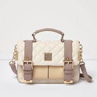 River Island Womens Cream Quilted Buckle Handbag