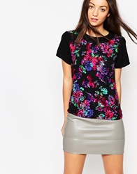 Neon Rose Floral Blouse With Peter Pan Collar Blackfloral
