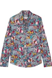 Gabriela Hearst Henri Printed Silk Twill Shirt Gray