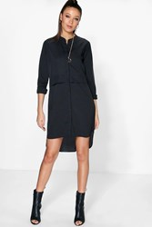Boohoo Betty Woven Concealed Placket Shirt Dress Black