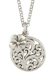 Lois Hill Sterling Silver Open Scroll Flower And Pendant Necklace Metallic