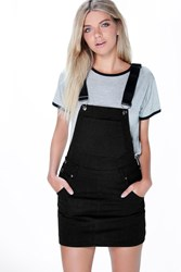 Boohoo Denim Dungaree Pinafore Dress Black