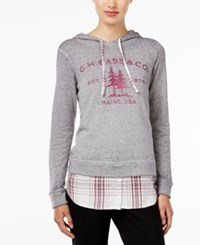 G.H. Bass And Co. Layered Look Graphic Sweatshirt Grey Dusk Combo