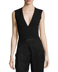 Halston Sleeveless Plunging V Neck Top Black
