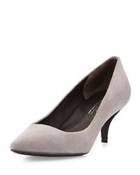 Kenneth Cole New York Pearl Suede Leather Low Heel Pump Light Grey