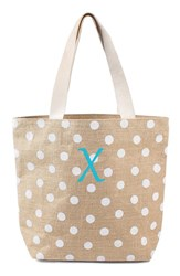 Cathy's Concepts Personalized Polka Dot Jute Tote White White X