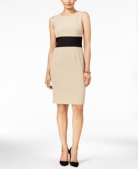 Kasper Petite Colorblocked Sheath Dress Latte Black