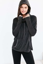 Project Social T X Out From Under Cowl Neck Hoodie Sweatshirt Dark Grey