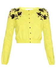 Oscar De La Renta Shoulder Embroidered Knit Cardigan Yellow