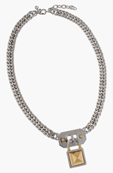 Rebecca Minkoff Lock Pendant Necklace Rhodium Gold