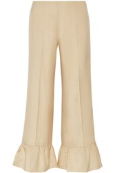 Gucci Ruffled Silk Flared Pants Cream