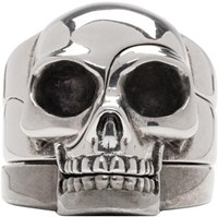 Alexander Mcqueen Silver Divided Skull Ring Set