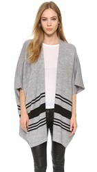 Cupcakes And Cashmere Toro Striped Poncho Heather Grey