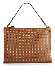 Sondra Roberts Studded Faux Leather Hobo Cognac