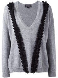 Giambattista Valli V Neck Ruffled Detailing Jumper Grey