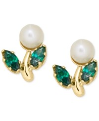 Macy's Cultured Freshwater Pearl And Green Crystal Stud Earrings In 14K Gold