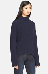 Helmut Lang Cashmere And Wool Turtleneck Sweater Nero Navy