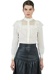 Saint Laurent Lace Trimmed Folk Blouse White