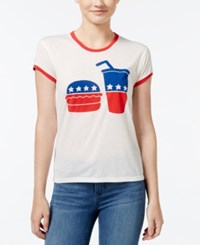 Mighty Fine Juniors' Election Food Graphic Ringer T Shirt Linen