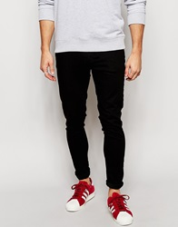 Brooklyn Supply Co. Brooklyn Supply Co Jeans Super Skinny Fit Clean Black Ripped Knee