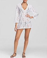 J. Valdi Daisy V Neck Tunic Swim Cover Up White