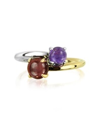 Mia And Beverly Amethyst And Garnet 18K White And Yellow Gold Purple