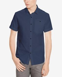 Kenneth Cole New York Men's Ripstop Short Sleeve Shirt Navy