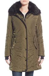 Women's Nanette Lepore Faux Fur Lined Quilted Coat