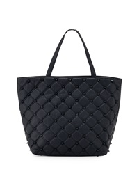 Deux Lux Empress Stud Quilted Faux Leather Tote Bag Marine