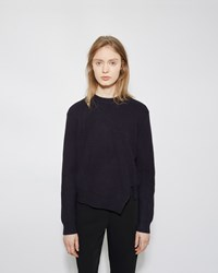 Proenza Schouler Side Slit Cashmere Blend Sweater Navy