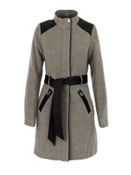 Morgan Leather Look Detail Trench Coat Grey