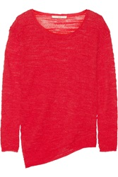 Halston Asymmetric Boucle Knit Sweater
