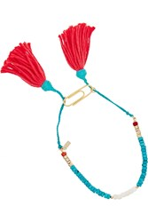 Aurelie Bidermann Sioux Gold Plated Turquoise Coral And Bamboo Anklet Blue