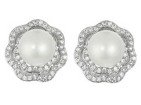 Nina Fresh Water Pearl Cz Rose Earrings Palladium Cz Earring Silver