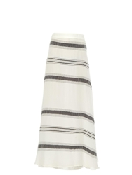 Zeus Dione Lefkes Striped Silk Blend Skirt
