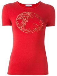 Versace Collection Studded 'Medusa' T Shirt Red