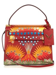 Valentino My Rockstud Enchanted Wonderland Leather Tote Red Multi