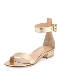 Gianvito Rossi Portofino Leather Ankle Wrap Sandal Gold Mekong Gold