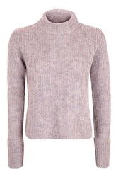 Topshop Lofty Turn Back Cuff Jumper Lilac