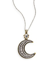 Amrita Singh Mixed Metals Half Moon Pendant Necklace Gold Silver