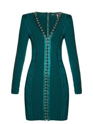 Balmain Hook And Eye Front Mini Dress Dark Green