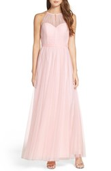 Wtoo Women's Tulle Halter Neck Gown Ice Pink