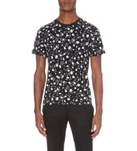 Sandro Lover Floral Print Cotton Jersey T Shirt Black