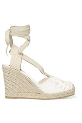 Tory Burch Emil Embroidered Mesh And Canvas Wedge Espadrilles White