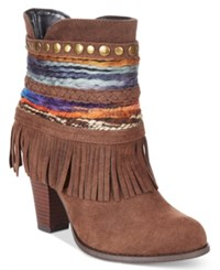 Mojo Moxy Dolce By Bronco Western Fringe Booties Women's Shoes Espresso