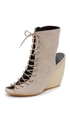 Rebecca Minkoff Elle Lace Up Open Toe Booties Sand