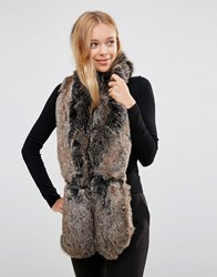 New Look Faux Fur Stole Mink Beige